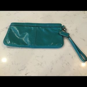 Teal patent leather Coach clutch